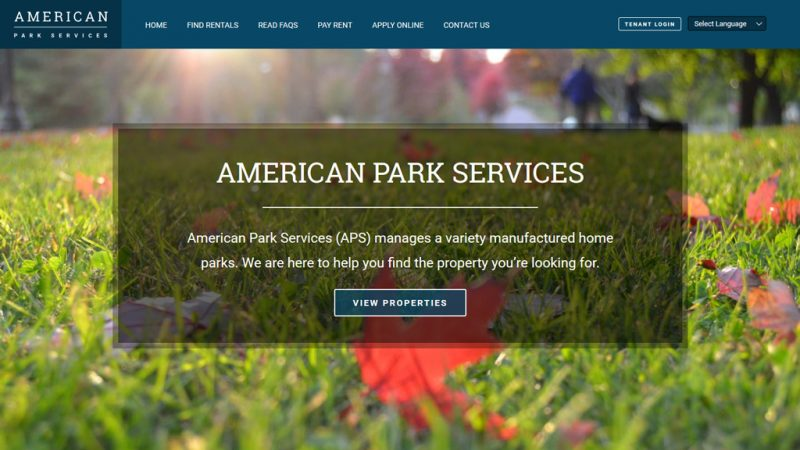 American Park Services Custom Website Screenshot
